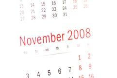 Fermez-vous vers le haut du novembre 2008 du calendrier Photo libre de droits