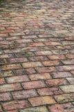 Fermez-vous vers le haut du plancher antique de briques en parc de songskhla Photographie stock libre de droits