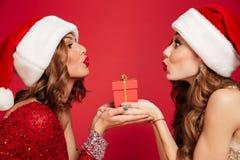 Fermez-vous vers le haut du portrait de deux jolies femmes dans des chapeaux de Noël Image stock