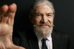 Fermez-vous vers le haut du portrait de l'homme d'une chevelure gris froissé Photographie stock libre de droits