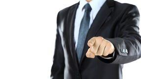 Fermez-vous vers le haut du portrait de l'homme sûr d'affaires indiquant vous Image libre de droits