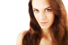 Fermez-vous vers le haut du portrait de la femme assez belle en bonne santé photos libres de droits