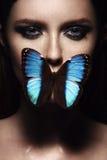 Fermez-vous vers le haut du portrait de la fille avec le beau maquillage Image stock