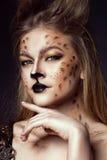 Fermez-vous vers le haut du portrait du jeune beau modèle aux yeux gris avec le maquillage artistique de léopard et balayés les c photographie stock libre de droits