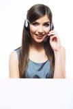 Fermez-vous vers le haut du portrait du travailleur de service client de femme Images stock
