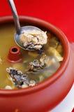 Fermez-vous vers le haut du potage chinois de poulet et aux légumes Images stock