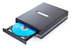 Fermez-vous vers le haut du projectile de DVD d'isolement sur le blanc Images libres de droits