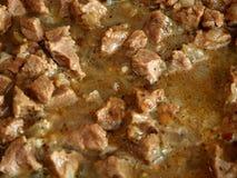 Fermez-vous vers le haut du ragoût de viande de boeuf braisé par vue Image libre de droits