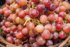 Fermez-vous vers le haut du raisin sur la stalle de fruit Photos stock