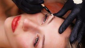 Fermez-vous vers le haut du tir Spécialiste professionnel de travail permanent de maquillage avec des sourcils Concept de beauté, banque de vidéos