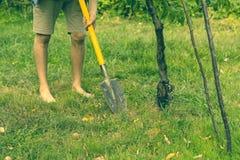 Fermez-vous vers le haut du travail de jambes de personne dans le jardin et du creusement utilisant la pelle s photo stock