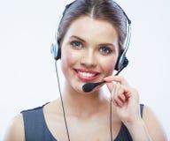 Fermez-vous vers le haut du travailleur de service client de femme du portrait o de visage photographie stock
