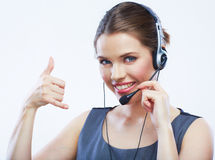 Fermez-vous vers le haut du travailleur de service client de femme du portrait o de visage Photographie stock libre de droits