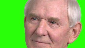 Fermez-vous vers le haut du vieil homme que le visage recherche clips vidéos