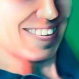 Fermez-vous vers le haut du visage d'une femme de sourire - art digital Image libre de droits
