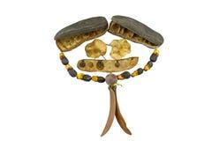 Fermez-vous vers le haut du visage de sourire de la pile d'arbre de graines en tant que retouche humaine de forme dans le nouvel  Photo stock