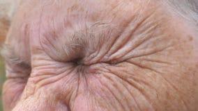 Fermez-vous vers le haut du visage froissé de la vieille grand-mère examinant la distance avec une vue triste Portrait de femme m banque de vidéos