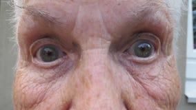 Fermez-vous vers le haut du visage froiss? de la vieille grand-m?re regardant dans la cam?ra avec une expression ?tonn?e Vertical banque de vidéos