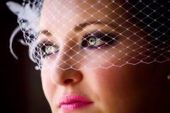 Fermez-vous vers le haut du voile de cage à oiseaux de jeune mariée Image stock