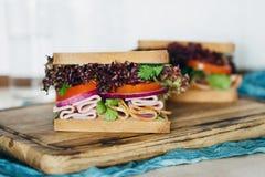 Fermez-vous vers le haut grande de la planche à découper servie de dinde de sandwichs par viande Images libres de droits