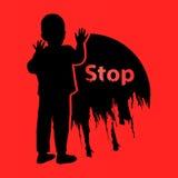 Fermi delicatamente la violenza dei bambini marchio Illustrazione illustrazione di stock