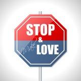 Fermi e faccia il segnale stradale di amore Immagine Stock