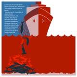 Fermi finning dello squalo e la natura sicura Aletta di filatoio di vettore per testo Fotografia Stock