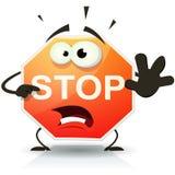 Fermi il carattere dell'icona del segnale stradale Fotografia Stock Libera da Diritti