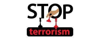 Fermi il concetto del terrorismo lettere Fotografia Stock Libera da Diritti