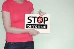 Fermi il concetto del terrorismo lettere e Immagini Stock Libere da Diritti