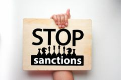 Fermi il concetto di sanzioni L'iscrizione Fotografia Stock Libera da Diritti