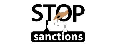 Fermi il concetto di sanzioni logo dell'illustrazione Fotografia Stock