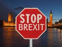 fermi il segno del brexit Fotografie Stock Libere da Diritti