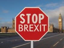 fermi il segno del brexit Fotografia Stock Libera da Diritti