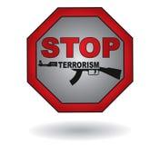 Fermi il segno del terrorismo Fotografia Stock Libera da Diritti