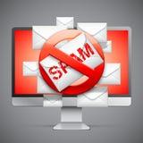 Fermi il segno dello Spam Fotografie Stock