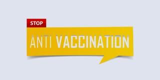 Fermi l'anti insegna della vaccinazione isolata su fondo bianco Modello di disegno della bandiera Vettore illustrazione di stock
