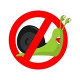 Fermi la lumaca Segno proibitivo rosso proibito del parassita di insetto illustrazione di stock