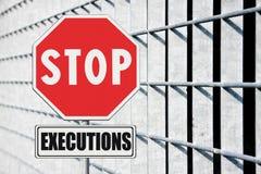 Fermi la pena di morte scritta sul segnale stradale Fotografia Stock