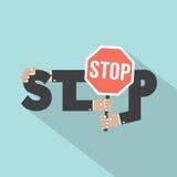 Fermi la tipografia con progettazione dell'insegna di arresto Fotografia Stock Libera da Diritti