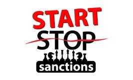 Fermi o inizi un concetto di sanzione Illustrazione Fotografie Stock Libere da Diritti