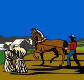 Fermier avec le cheval et la ferme Photographie stock libre de droits