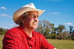 Fermier mûr inquiété Photo libre de droits
