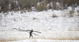 Fermier sur la neige Image libre de droits