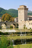 Fermignano. In Italy, river and castle Stock Image