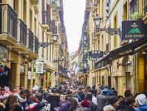 Fermin Calbeton ulica w San Sebastian Starym miasteczku Gipuzkoa fotografia royalty free