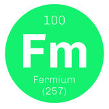 Fermium chemical element. Fermium, chemical element. Member of the actinide series. Colored icon with atomic number and atomic weight. Chemical element of Stock Images