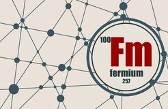 Fermium chemical element. Sign with atomic number and atomic weight. Chemical element of periodic table. Molecule And Communication Background. Connected lines Stock Image