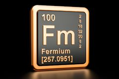 Fermium Fm chemical element. 3D rendering. Fermium Fm, chemical element. 3D rendering  on black background Royalty Free Stock Photos
