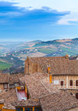 Fermo, Italy. Vertical photo with old tiling roofs Royalty Free Stock Images